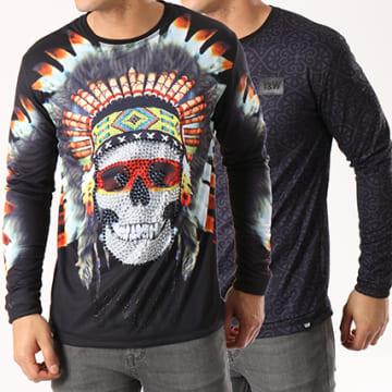 Y et W - Tee Shirt Manches Longues Reversible Indian Noir