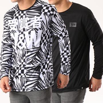 Y et W - Tee Shirt Manches Longues Reversible Echec Mat Noir Blanc
