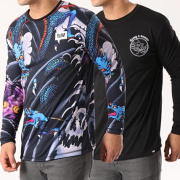 Y et W - Tee Shirt Manches Longues Reversible Dragon Noir