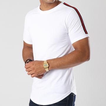 LBO - Tee Shirt Oversize Avec Bandes Noir Et Rouge 454 Blanc