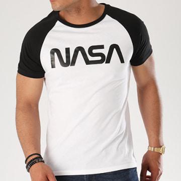 NASA - Tee Shirt Raglan Worm Logo Blanc Noir