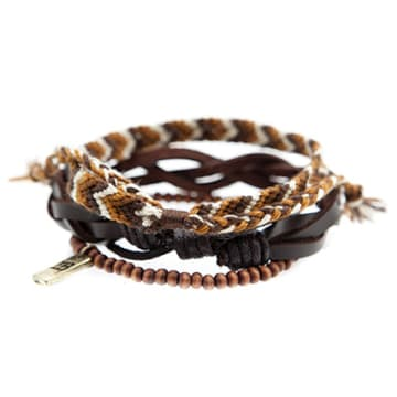 Lot De 3 Bracelets Outbound Combo Marron Blanc