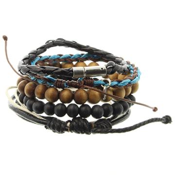 Icon Brand - Lot De 5 Bracelets Dave Dudley Marron Noir Bleu Clair