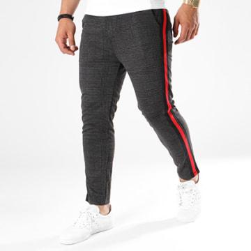 Pantalon A Carreaux Bandes Brodées 1321 Noir Rouge