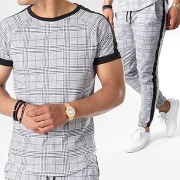 Frilivin - Ensemble Tee Shirt Oversize Pantalon Jogging A Carreaux Avec Bandes 5003 Noir Gris