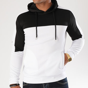 Sweat Capuche 104 Bicolore Blanc Noir
