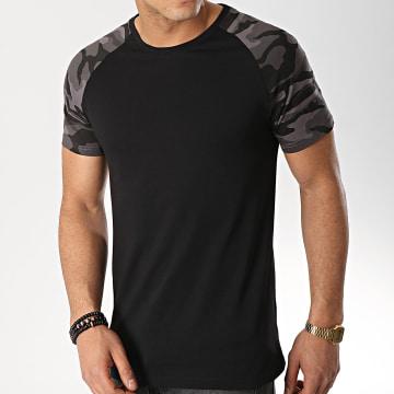 Tee Shirt Raglan 465 Noir Camouflage Gris