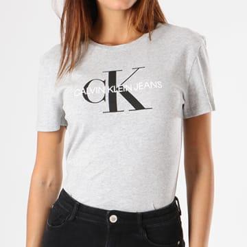 Calvin Klein - Tee Shirt Femme Core Monogram Logo 7878 Gris Chiné