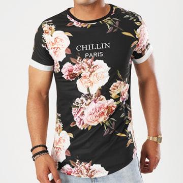 Tee Shirt Oversize T282 Noir Floral