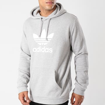 Adidas Originals - Sweat Capuche Trefoil DT7963 Gris Chiné