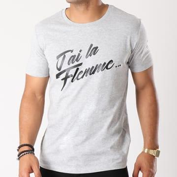 Tee Shirt J'ai La Flemme Gris Chiné