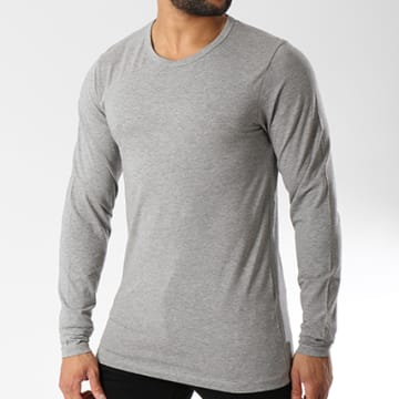Tee Shirt Manches Longues O Neck Gris Chiné