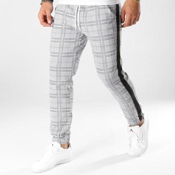 Pantalon A Carreaux Avec Bandes Cordons Blancs 1332 Gris Noir