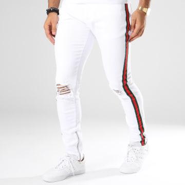 Jean Slim Avec Bandes 13016-2 Blanc