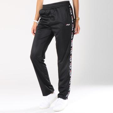 Pantalon Jogging Femme Bande Brodée Strap Noir