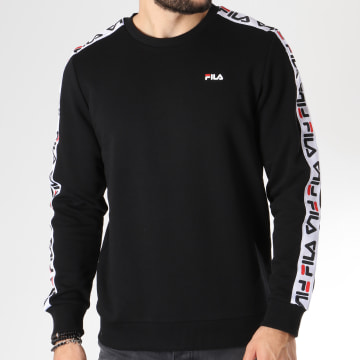 Sweat Crewneck Bande Brodée Aren 682363 Noir