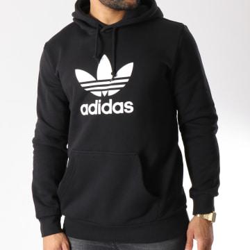 Adidas Originals - Sweat Capuche Trefoil DT7964 Noir Blanc
