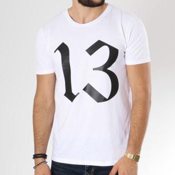 13 Block - Tee Shirt Logo Blanc Noir