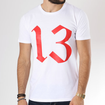 13 Block - Tee Shirt Logo Blanc Rouge