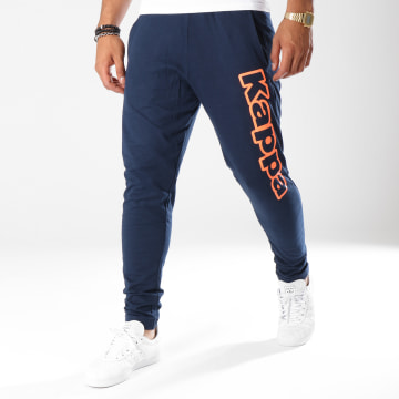 Kappa - Pantalon Jogging Logo Cristiano Bleu Marine Orange Fluo
