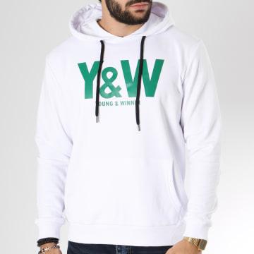 Y et W - Sweat Capuche Logo Blanc Vert