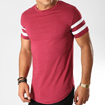 Tee Shirt Oversize Avec Bandes Blanches 469 Bordeaux