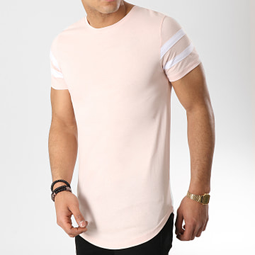 LBO - Tee Shirt Oversize Avec Bandes Blanches 470 Rose Pale