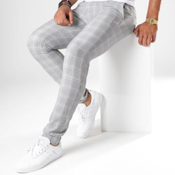 Mackten - Pantalon Super Slim Fit A Carreaux 28010 Gris Détails Beige