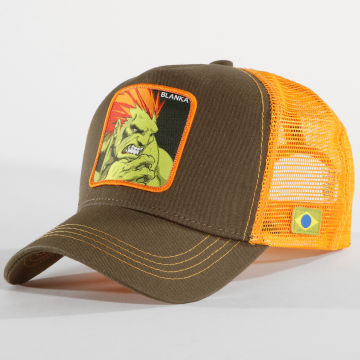 Capslab - Casquette Trucker Blanka Vert Kaki Orange