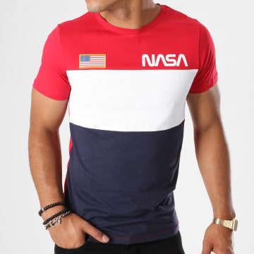 NASA - Tee Shirt Chest Tricolore Bleu Marine Blanc Rouge