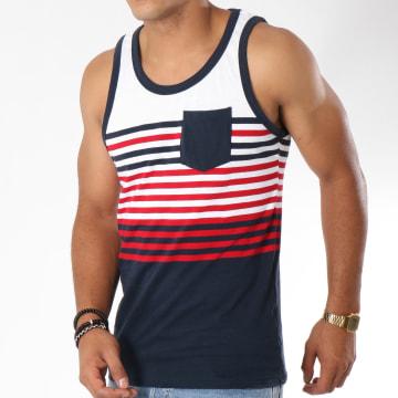 Débardeur Naval Blanc Bleu Marine Rouge