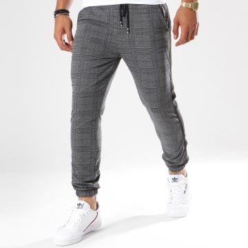 Pantalon Jogging A Carreaux Avec Bandes 1332 Gris Anthracite