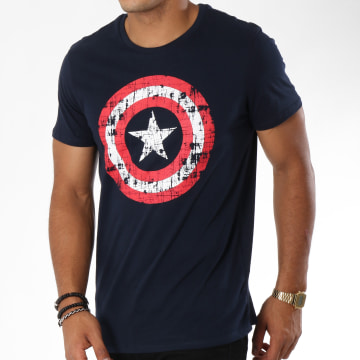 Captain America - Tee Shirt Shield Bleu Marine