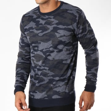 MZ72 - Pull Scoro Bleu Marine Gris Anthracite Chiné Camouflage