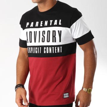 Parental Advisory - Tee Shirt Block Tricolore Bordeaux Noir