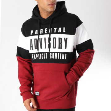 Parental Advisory - Sweat Capuche Block Tricolore Bordeaux Noir