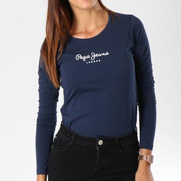 Pepe Jeans - Tee Shirt Manches Longues Femme New Virginia Bleu Marine