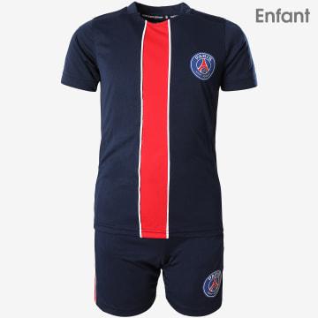 Ensemble Tee Shirt Short Jogging Enfant P12475 Bleu Marine Rouge