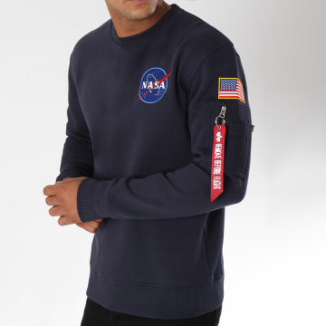 Alpha Industries - Sweat Crewneck Avec Poche Bomber Nasa Space Shuttle Bleu Marine