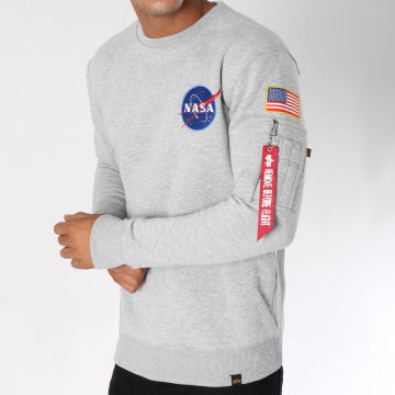 Alpha Industries - Sweat Crewneck Avec Poche Bomber Nasa Space Shuttle Gris Chiné