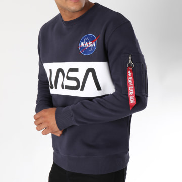 Alpha Industries - Sweat Crewneck Avec Poche Bomber Nasa Inlay Bleu Marine