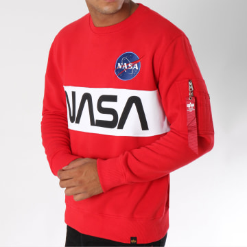 Alpha Industries - Sweat Crewneck Avec Poche Bomber Nasa Inlay Rouge