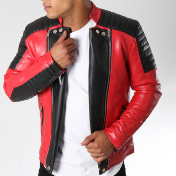 Veste Biker 79639 Rouge Noir