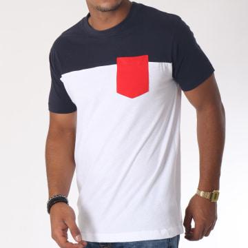 Urban Classics - Tee Shirt Poche TB969 Blanc Bleu Marine Rouge