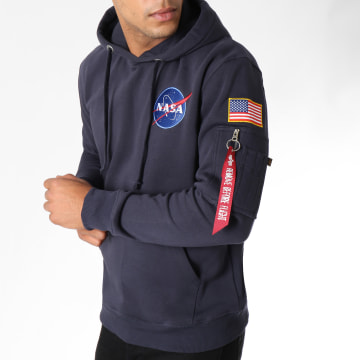 Alpha Industries - Sweat Capuche Avec Poche Bomber Nasa Space Shuttle Bleu Marine