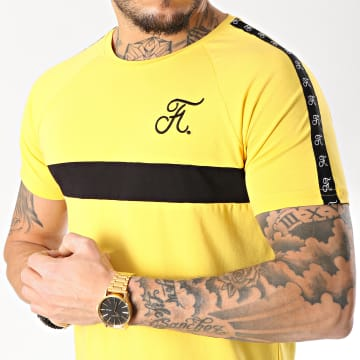 Tee Shirt Premium Fit Avec Bande Et Broderie 087 Jaune