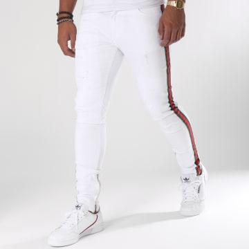 Jean Slim Bandes Brodées 13016 Blanc Vert Rouge