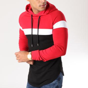 Sweat Capuche Oversize Tricolore 502 Noir Blanc Rouge