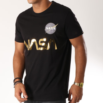 Alpha Industries - Tee Shirt Nasa Reflective Noir Doré