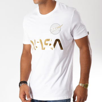 Alpha Industries - Tee Shirt Nasa Reflective Blanc Doré